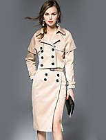 cheap -Women's Going out Work Street chic Fall Blazer Skirt Suits,Solid Shirt Collar Long Sleeve Split Polyester Micro-elastic