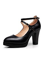 cheap -Women's Shoes Microfibre Spring Fall Basic Pump Heels Chunky Heel Buckle for Dress Party & Evening Black