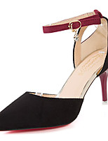 cheap -Women's Shoes Rubber Spring Fall Comfort Heels Low Heel Pointed Toe for Outdoor Burgundy Black