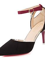 Недорогие -Обувь Резина Весна Осень Удобная обувь Обувь на каблуках На низком каблуке Заостренный носок для Черный Вино