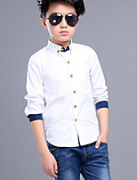 cheap -Boys' Solid Patchwork Shirt,Cotton Spring Fall Long Sleeve Simple White