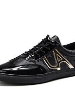 Недорогие -Для мужчин обувь Полиуретан Весна Осень Удобная обувь Кеды для Повседневные Черный Черный и золотой