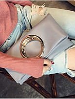 cheap -Women Bags PU Clutch Buttons for Casual All Season Khaki Brown Gray Blushing Pink Black