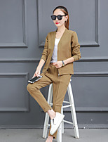 cheap -Women's Daily Casual Fall Blazer Pant Suits,Print V-neck Long Sleeve Polyester