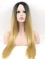 cheap -Women Synthetic Wig Long Straight Blonde Ombre Natural Wigs Costume Wig