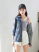 cheap -Women's Daily Street chic Winter Denim Jacket,Solid Round Neck Short Sleeve Regular Cotton Acrylic Pleated