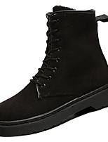 abordables -Femme Chaussures Gomme Hiver Automne boîtes de Combat Bottes Talon Plat pour Noir Fuchsia