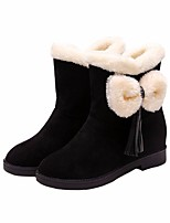 cheap -Women's Shoes Nubuck leather Winter Fall Comfort Snow Boots Boots Flat Heel for Casual Black Red
