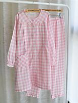 abordables -Costumes Vêtement de nuit Femme À carreaux Bleu Orange Rose Claire Gris