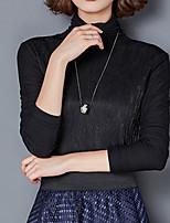 economico -T-shirt Da donna Quotidiano Casual Inverno Autunno,Tinta unita A collo alto Cotone Maniche lunghe Opaco