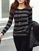 economico -T-shirt Da donna Quotidiano Casual Primavera,A strisce Rotonda Cotone Maniche lunghe Opaco