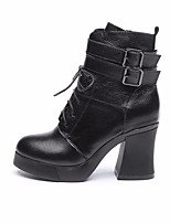 cheap -Women's Shoes Cowhide Winter Fall Comfort Combat Boots Boots Chunky Heel Booties/Ankle Boots for Casual Black
