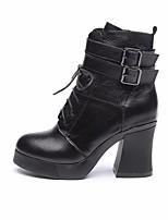 abordables -Mujer Zapatos Cuero Invierno Otoño Confort Botas de Combate Botas Tacón Cuadrado Botines/Hasta el Tobillo para Casual Negro