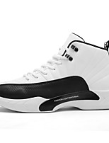 cheap -Men's Shoes Leatherette Winter Spring Comfort Sneakers Stitching Lace for Casual Outdoor White Black Black/White