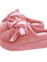 Недорогие -Для женщин Обувь Флис Зима Осень Удобная обувь Тапочки и Шлепанцы Плоские для Повседневные Черный Серый Розовый Вино
