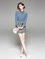 cheap -EWUS Women's Daily Going out Sexy Spring Summer Shirt Skirt SuitsPlaid/Checkered Shirt Collar Long Sleeve Wool Elastane Inelastic