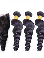 Недорогие -Перуанские волосы Свободные волны Ткет человеческих волос 4шт Человека ткет Волосы