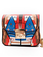 cheap -Women Bags PU Shoulder Bag Buttons Pattern / Print for Casual All Season Blushing Pink Red Black