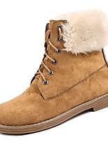Недорогие -Для женщин Обувь Флис Зима Осень Армейские ботинки Ботинки На толстом каблуке Круглый носок для Темно-коричневый Хаки