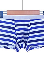 cheap -Men's Micro-elastic Solid Striped Boxers Underwear Opaque, Cotton One-piece Suit Red Blushing Pink Light Blue Light gray Royal Blue