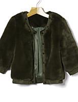 Недорогие -Жен. Повседневные Осень Короткая Пальто с мехом Круглый вырез, Однотонный Однотонный Искусственный мех