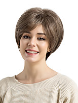cheap -Synthetic Hair Wigs Straight Side Part Pixie Cut With Bangs Capless Natural Wigs Brown