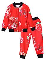 Недорогие -Универсальные Набор одежды Повседневные Спорт Хлопок Цветочный принт Весна Осень Длинный рукав Простой На каждый день Синий Красный Серый