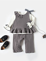cheap -Girls' Daily Solid Clothing Set, Cotton Bamboo Fiber Spandex Spring Short Sleeves Casual Brown Light gray