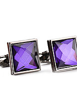 cheap -Geometric Purple White Cufflinks Crystal Alloy Formal Fashion Elegant Wedding Evening Party Men's Costume Jewelry
