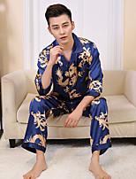 abordables -Costumes Pyjamas Homme,Fleur Fin Polyester Noir Rose Claire Bleu royal