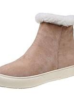 Недорогие -Для женщин Обувь Нубук Полиуретан Весна Осень Удобная обувь Модная обувь Ботинки На плоской подошве Круглый носок Сапоги до середины икры