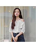 cheap -Women's Daily Casual Shirt,Print V Neck ½ Length Sleeve Silk