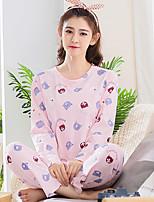 abordables -Costumes Pyjamas Femme Moyen Coton Rose Claire