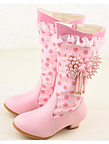 cheap -Girls' Shoes Synthetic Microfiber PU Winter Fall Comfort Fashion Boots Boots Mid-Calf Boots for Casual Pink White