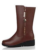 cheap -Women's Shoes PU Nappa Leather Winter Fall Comfort Boots Flat Closed Toe Mid-Calf Boots for Casual Outdoor Brown Black