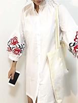 cheap -Women's Casual/Daily Active Spring/Fall Shirt,Solid Shirt Collar 3/4 Length Sleeve Cotton Medium