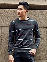 cheap -Men's Daily Going out Simple Casual Solid Color Round Neck Sweater Pullover, Long Sleeves Spring Cotton