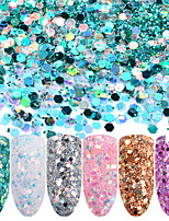 cheap -Six-piece Suit Glitters Sparkle & Shine Sparkle/Shine Sequins Glitter Powder Silvery Gold Pink Purple White Lime Green Nail Art Design