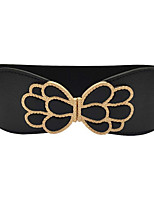 cheap -Women's Leather Fabric Wide Belt,Black Vintage Casual