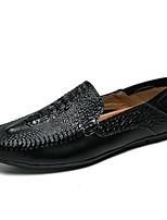 Недорогие -Муж. обувь Наппа Leather Весна Лето Удобная обувь Мокасины и Свитер для Повседневные Офис и карьера Белый Черный