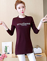 cheap -Women's Daily Street chic Spring Fall T-shirt,Letter Round Neck Long Sleeve Cotton Medium