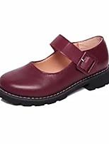 baratos -Mulheres Sapatos Couro Ecológico Primavera Conforto Rasos Sem Salto Ponta Redonda para Casual Preto Vinho