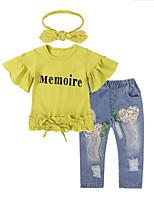 Недорогие -Девочки Набор одежды Повседневные На выход Хлопок Буквы Весна Лето Короткие рукава На каждый день Уличный стиль Желтый