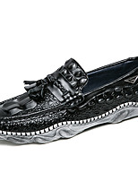 cheap -Men's Shoes Nappa Leather Spring Fall Moccasin Comfort Loafers & Slip-Ons for Casual Party & Evening Black White