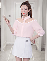 cheap -Women's Casual/Daily Street chic Blouse,Solid Shirt Collar 3/4 Length Sleeve Polyester