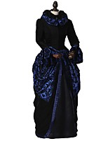 cheap -Rococo Victorian Costume Adults' Party Costume Masquerade Bule/Black Vintage Cosplay Taffeta 70% cotton 30%  nylon + spandex Long Sleeves
