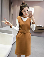 cheap -Women's Going out Casual/Daily Simple Fall T-Shirt Dress Suits,Solid V Neck Long Sleeves Polyester