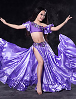 cheap -Belly Dance Outfits Children's Performance Spandex Pleated Short Sleeve Dropped Skirts Tops