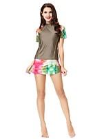 cheap -Women's Color Block Camouflage Vintage Cute Strap Tankini Swimwear,Spandex Polyamide Army Green Purple Black