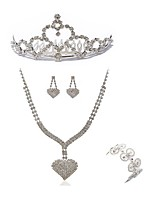 cheap -Women's Tiaras Bridal Jewelry Sets Rhinestone Fashion European Wedding Party Imitation Diamond Alloy Geometric Heart Body Jewelry 1